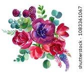 bouquet of flowers  watercolor... | Shutterstock . vector #1083361067