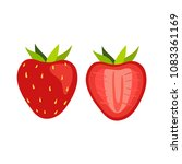 strawberry and slices of... | Shutterstock .eps vector #1083361169