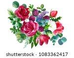 bouquet of flowers  watercolor... | Shutterstock . vector #1083362417