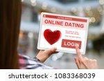 online dating concept  girl... | Shutterstock . vector #1083368039
