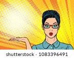 surprised woman presentation... | Shutterstock .eps vector #1083396491