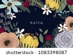 hello card with flowers on dark ...   Shutterstock .eps vector #1083398087