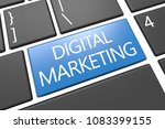 digital marketing   keyboard 3d ... | Shutterstock . vector #1083399155