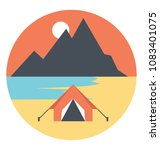 flat icon of a camp at the... | Shutterstock .eps vector #1083401075