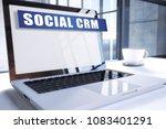 social crm text on modern...   Shutterstock . vector #1083401291