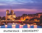 notre dame cathedral in paris ... | Shutterstock . vector #1083406997