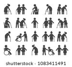 elderly people icon set. old or ... | Shutterstock .eps vector #1083411491