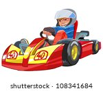 young boy raced on sport kart | Shutterstock .eps vector #108341684