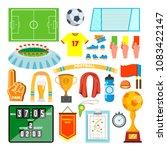 soccer icons set. soccer... | Shutterstock . vector #1083422147