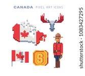 travel to canada  pixel art 80s ... | Shutterstock .eps vector #1083427295