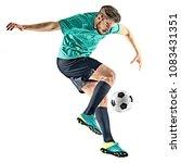 one caucasian soccer player man ...   Shutterstock . vector #1083431351