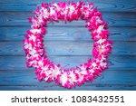 hawaiian wreath of flowers.... | Shutterstock . vector #1083432551