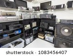 vintage music and electronics... | Shutterstock . vector #1083456407
