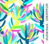 seamless summer tropical floral ...   Shutterstock .eps vector #1083459134