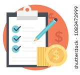 a checklist with dollar coins... | Shutterstock .eps vector #1083473999
