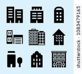 set of 9 apartment filled icons ... | Shutterstock .eps vector #1083479165