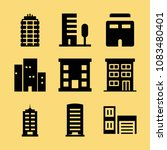 set of 9 apartment filled icons ... | Shutterstock .eps vector #1083480401