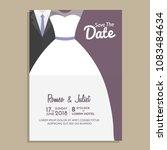 wedding invitation design with... | Shutterstock .eps vector #1083484634