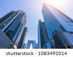 up view of modern office... | Shutterstock . vector #1083492014
