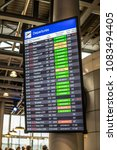 Small photo of Geneva, Switzerland, March 11, 2018, Airport, Flight information, arrival, departure board at the airport, Canceled, Delayed, Last Call, Boarding, Go to Gate