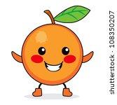 Cute Orange Fruit Cartoon...