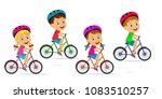 kids boys and girls ride a bike ... | Shutterstock .eps vector #1083510257