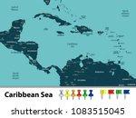 vector map of caribbean sea... | Shutterstock .eps vector #1083515045