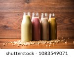colourful soya or soy milk made ... | Shutterstock . vector #1083549071