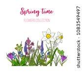 spring flowers crocus  scilla ... | Shutterstock .eps vector #1083549497