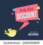 Stock vector early bird discount banner with cute bird and geomethic shapes promotional design template on blue 1083550835
