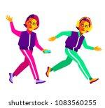 fitness girls. cartoon female... | Shutterstock .eps vector #1083560255