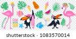 vector summer set with pink... | Shutterstock .eps vector #1083570014