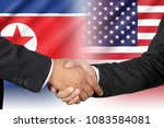 shaking hands of united states...   Shutterstock . vector #1083584081