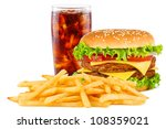double cheesesburger with french fries and cola. - stock photo