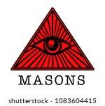 mason. illuminati. masonic eye. ... | Shutterstock .eps vector #1083604415