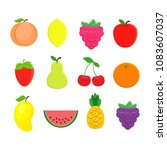 set of different fruits in flat ... | Shutterstock .eps vector #1083607037
