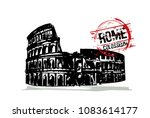 rome  colosseum. italy city... | Shutterstock .eps vector #1083614177