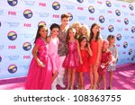 LOS ANGELES - JUL 22:  Dance Moms Cast with Justin Bieber arriving at the 2012 Teen Choice Awards at Gibson Ampitheatre on July 22, 2012 in Los Angeles, CA - stock photo