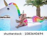 little happy adorable girl in... | Shutterstock . vector #1083640694