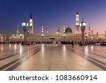 Small photo of Medina, Saudi Arabia - April 21 2013: People Gather around Green Dome at Nabawi Mosque.