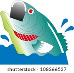 a largemouth bass leaps from... | Shutterstock .eps vector #108366527