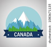 mountains with snow canadian... | Shutterstock .eps vector #1083671135