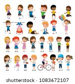 group of happy kids practicing... | Shutterstock .eps vector #1083672107