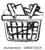 shopping basket with bag and... | Shutterstock .eps vector #1083672614