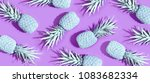painted pineapples on a vivid... | Shutterstock . vector #1083682334