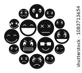 emoticon icons set in simple... | Shutterstock .eps vector #1083713654
