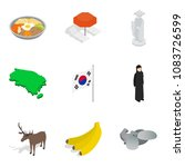 foreign icons set. isometric... | Shutterstock .eps vector #1083726599