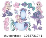 sea clipart purple mermaid... | Shutterstock .eps vector #1083731741