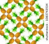 pineapple pattern on white... | Shutterstock . vector #1083743534