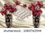 3d wallpaper red flowers in... | Shutterstock . vector #1083763544